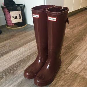 Hunter Tall Maroon Rain Boots